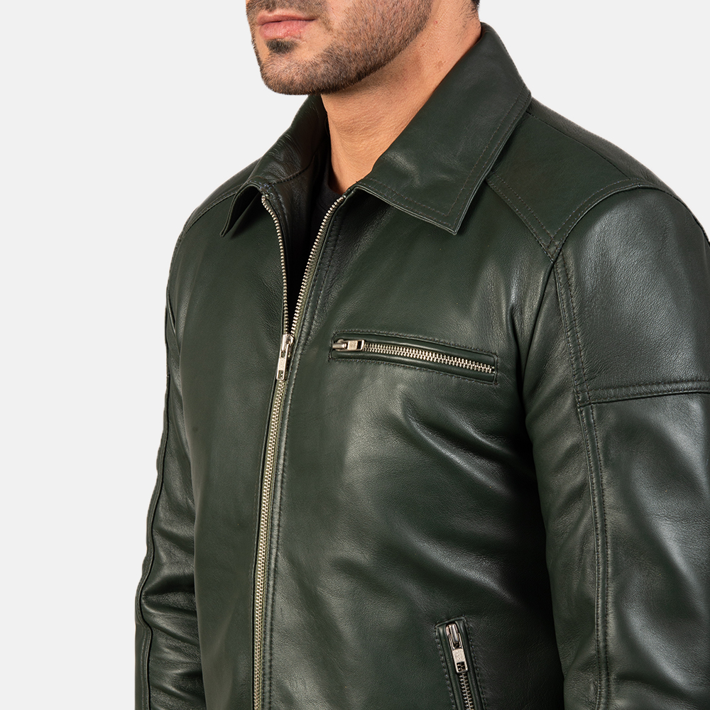 Mens Lavendard Green Leather Biker Jacket 6