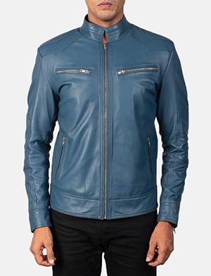 Men's Mack Blue Leather Biker Jacket