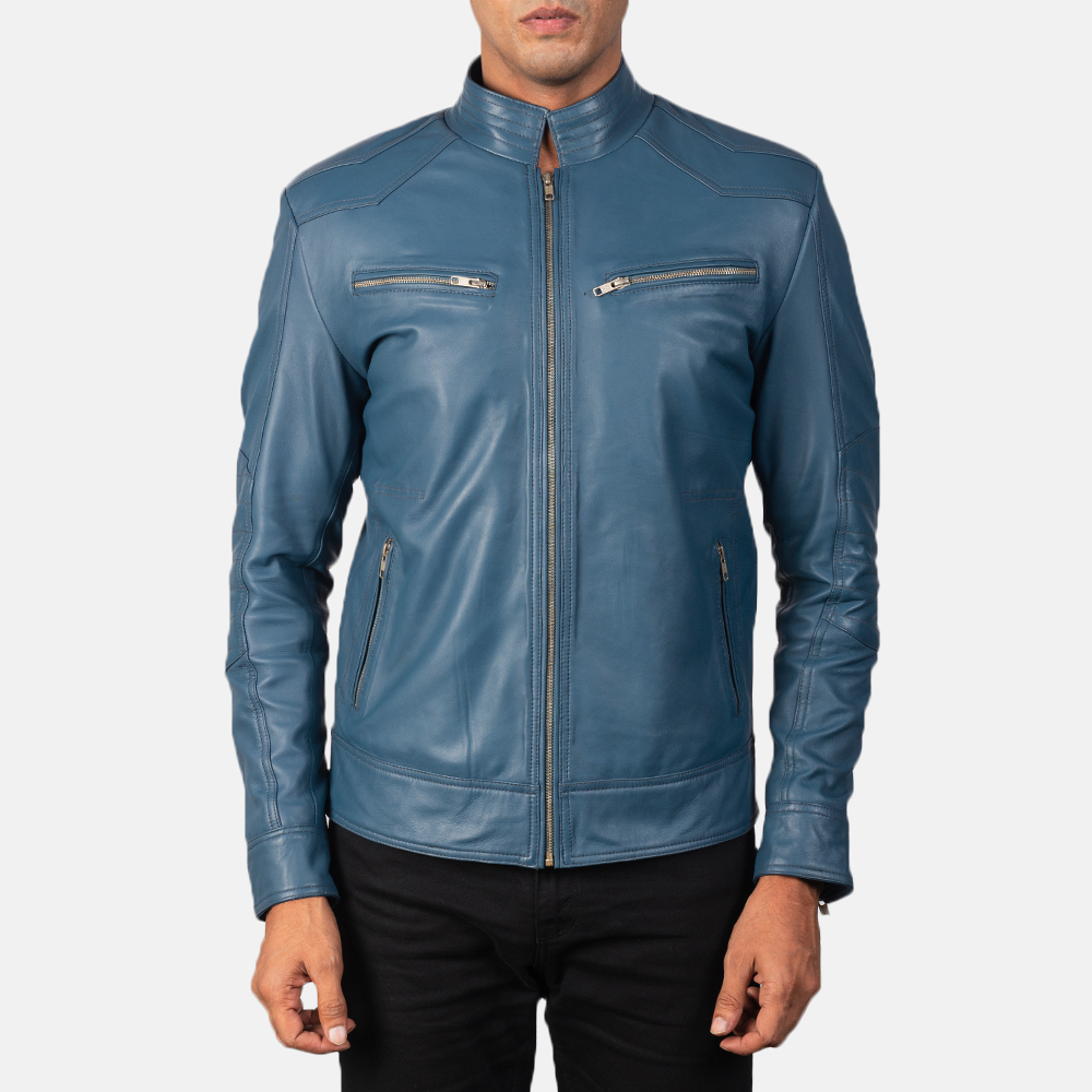 Men's Gatsby Quilted Blue Leather Biker Jacket 4