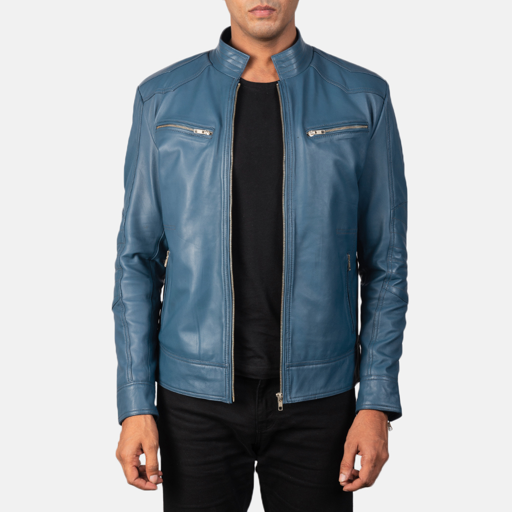 Men's Gatsby Quilted Blue Leather Biker Jacket 3