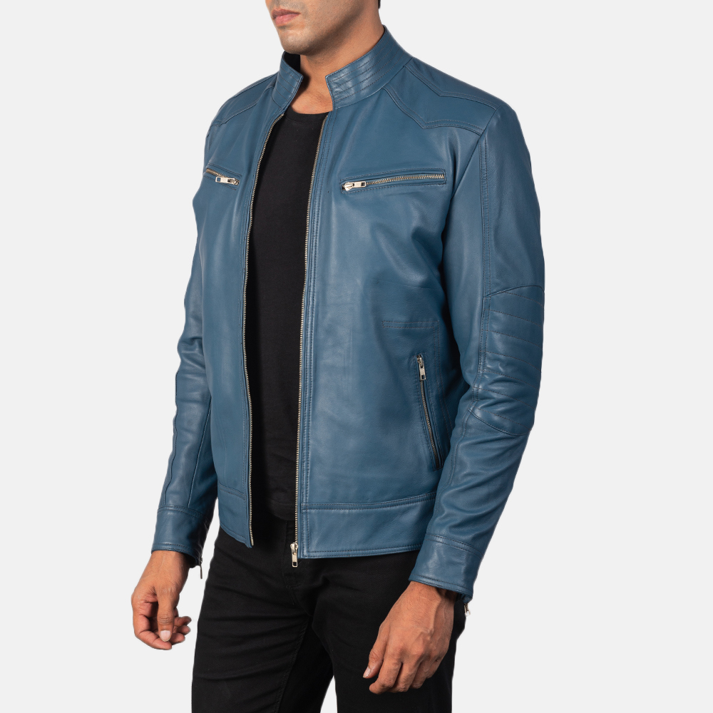 Men's Gatsby Quilted Blue Leather Biker Jacket 2