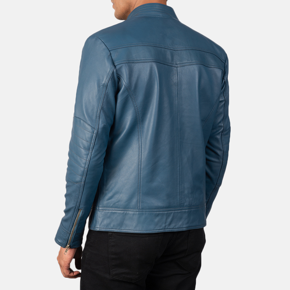 Men's Gatsby Quilted Blue Leather Biker Jacket 5