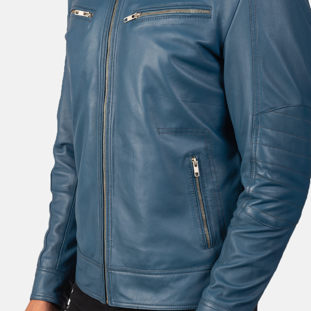 Men's Mack Blue Leather Biker Jacket