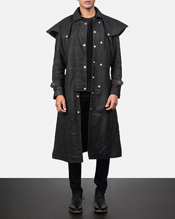Men's Maverick Black Leather Duster