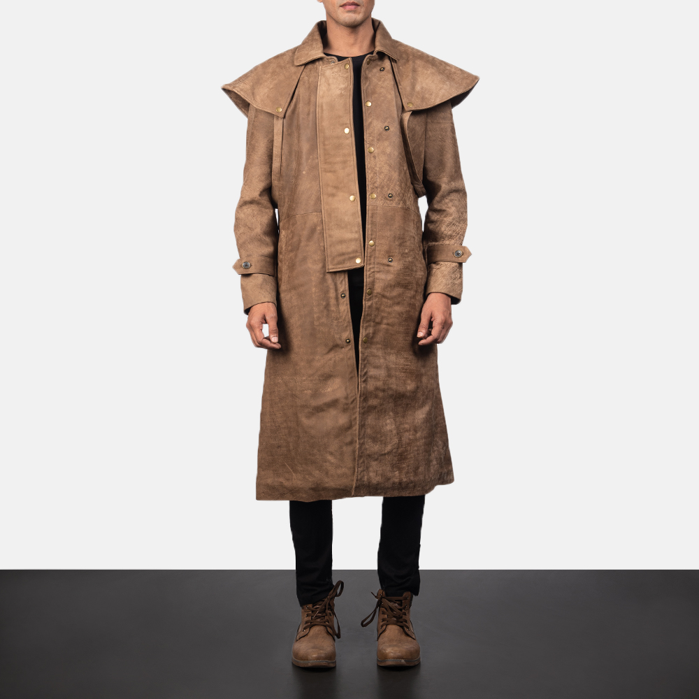 Maverick Brown Leather Duster