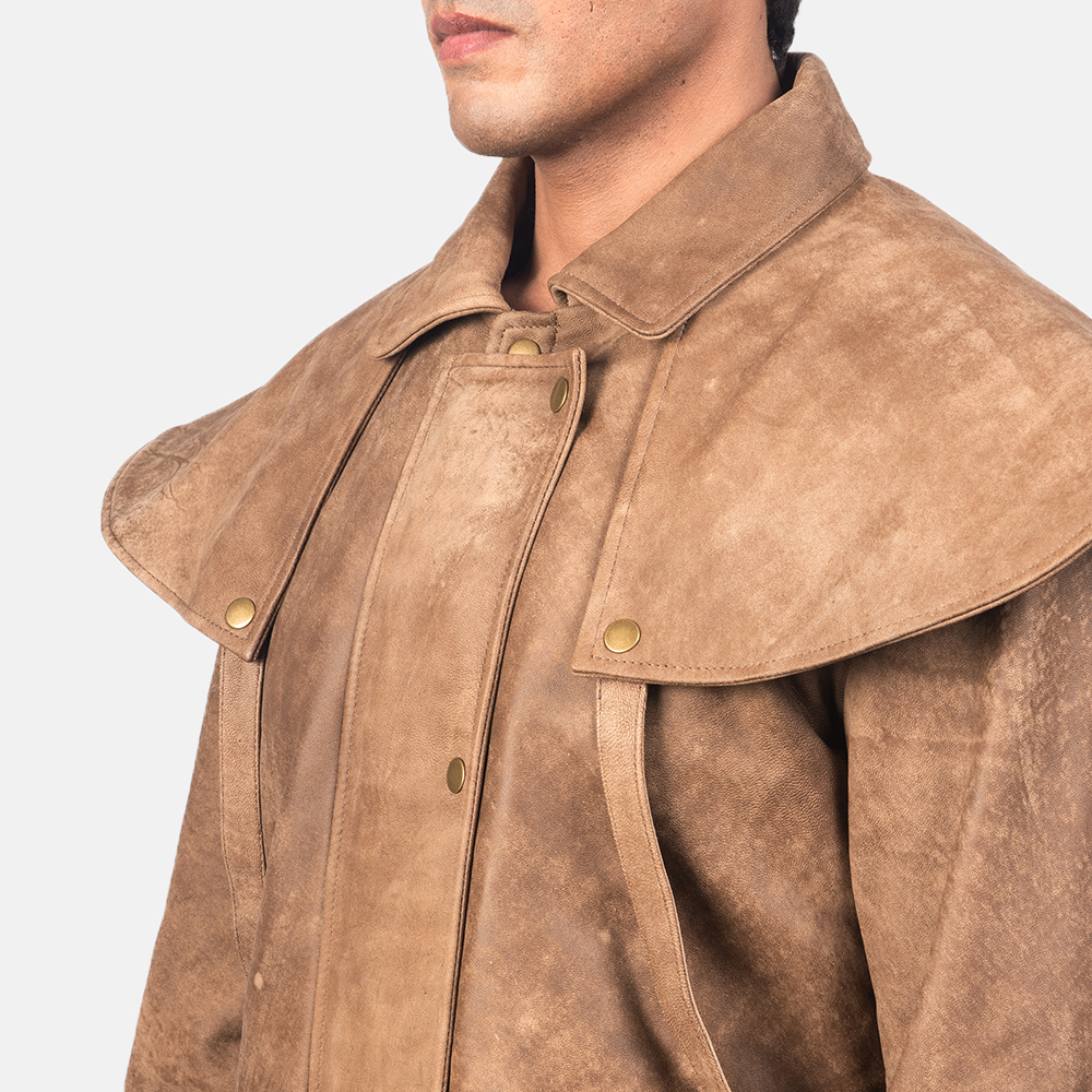 Men's Maverick Brown Leather Duster