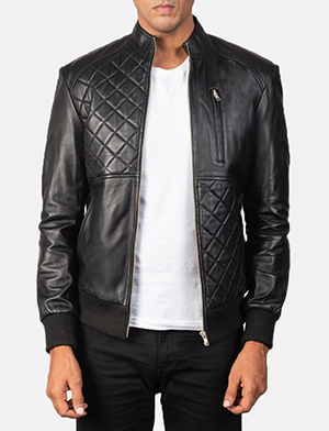 Men's Moda Quilted Black Leather Bomber Jacket
