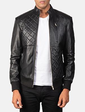 Men's Moda Quilted Black Leather Bomber Jacket