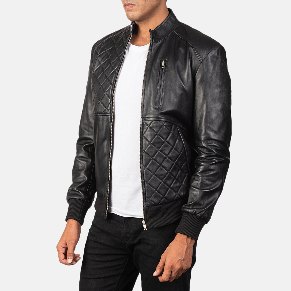 Men's Moda Black Leather Bomber Jacket