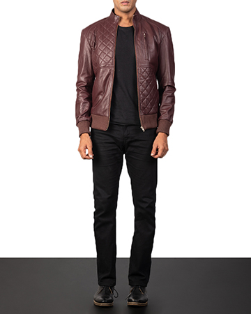 Men's Moda Maroon Leather Bomber Jacket