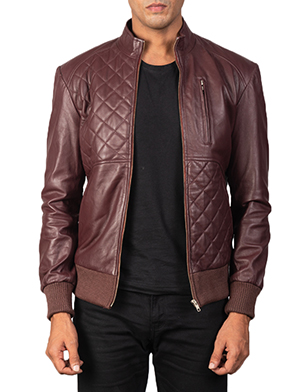Men's Moda Quilted Maroon Leather Bomber Jacket