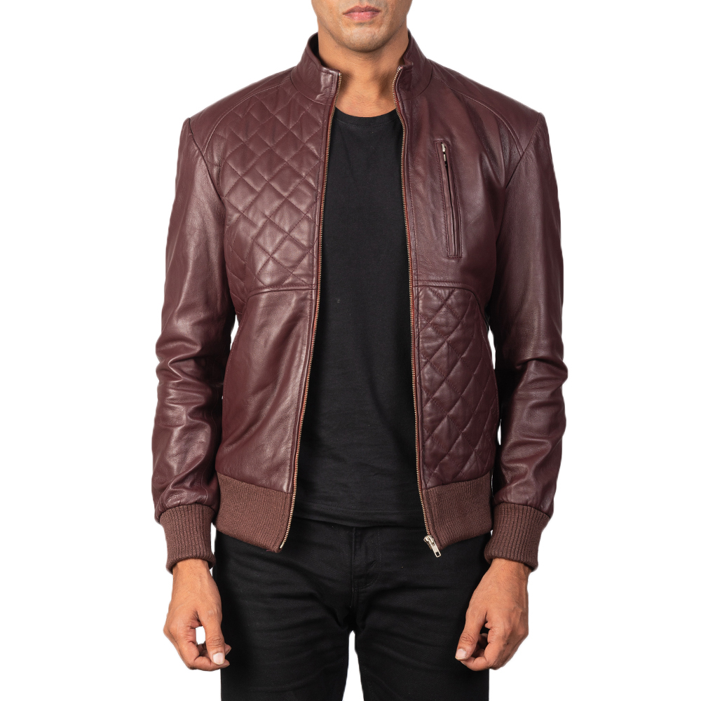 Moda Maroon Leather Bomber Jacket