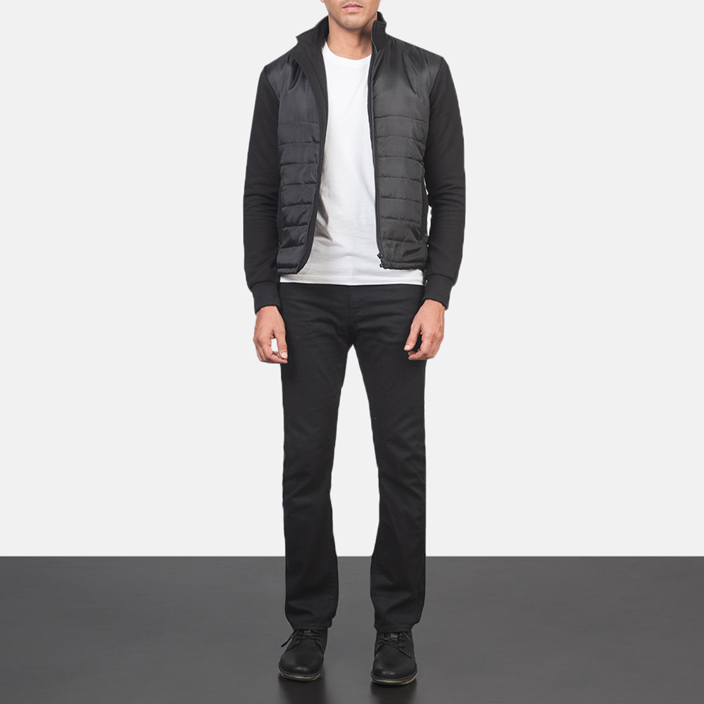 Men's Nashville Quilted Black Windbreaker Jacket 1