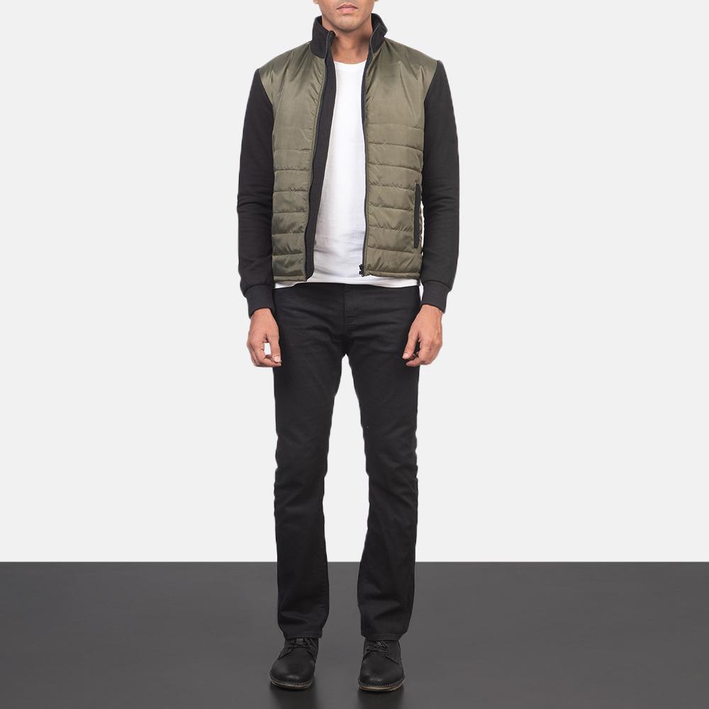 Men's Nashville Quilted Green Windbreaker Jacket 1
