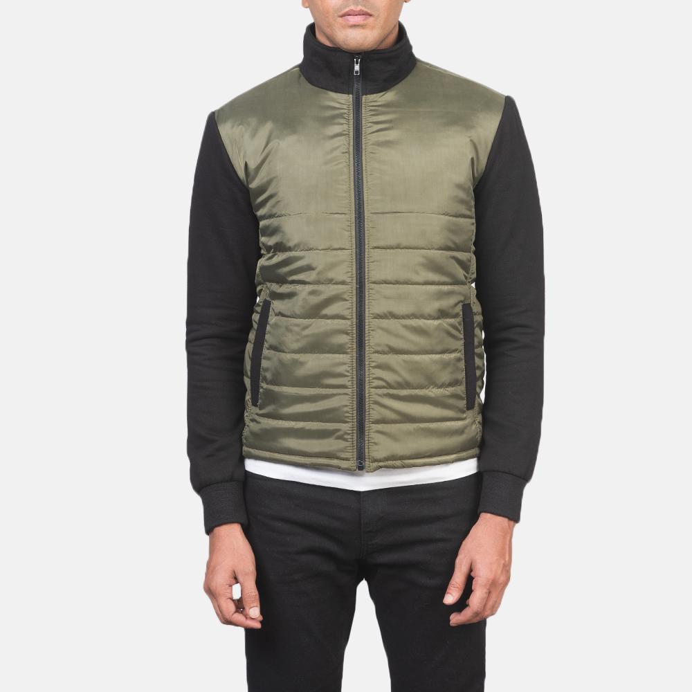 Men's Nashville Quilted Green Windbreaker Jacket 4
