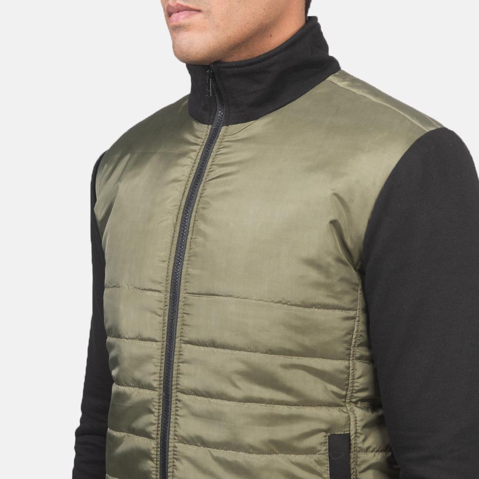 Men's Nashville Quilted Green Windbreaker Jacket 6