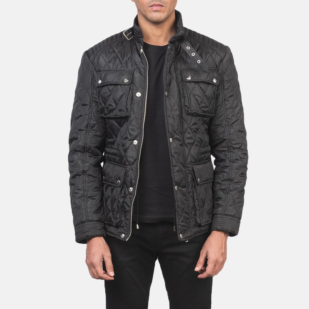 Men's Nelson Quilted Black Windbreaker Jacket 3