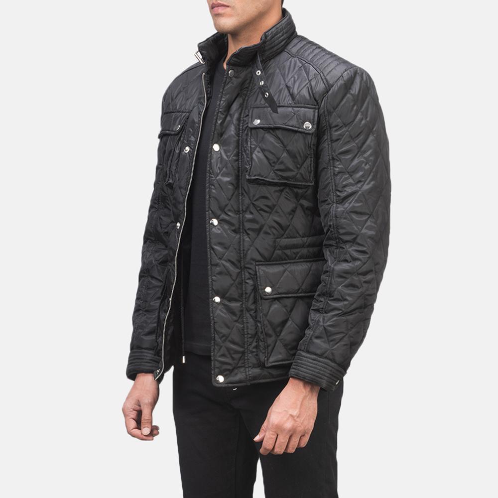 Men's Nelson Quilted Black Windbreaker Jacket 2