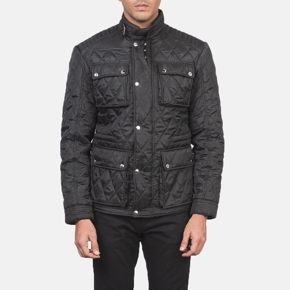 Men's Nelson Quilted Black Windbreaker Jacket 4