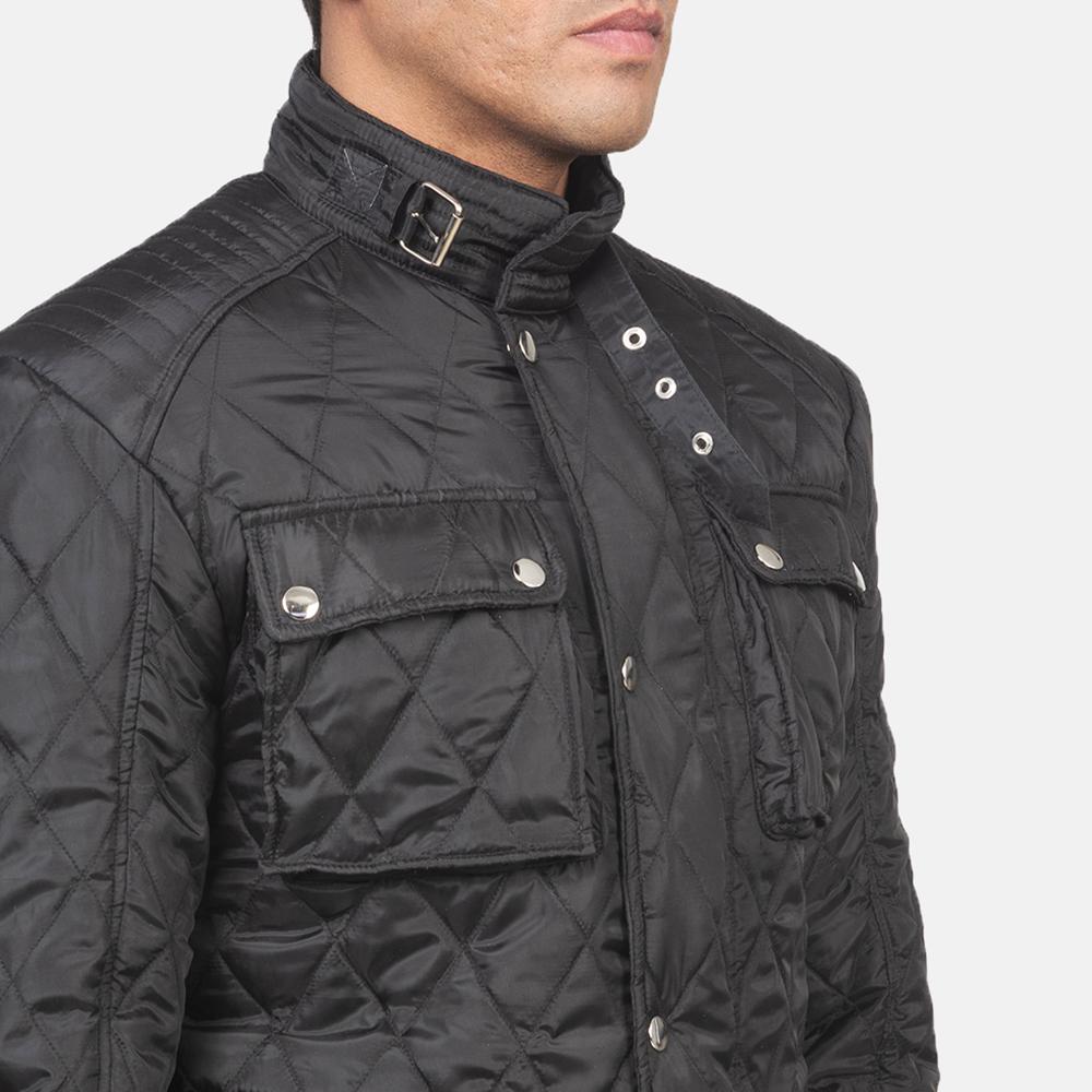 Men's Nelson Quilted Black Windbreaker Jacket 6