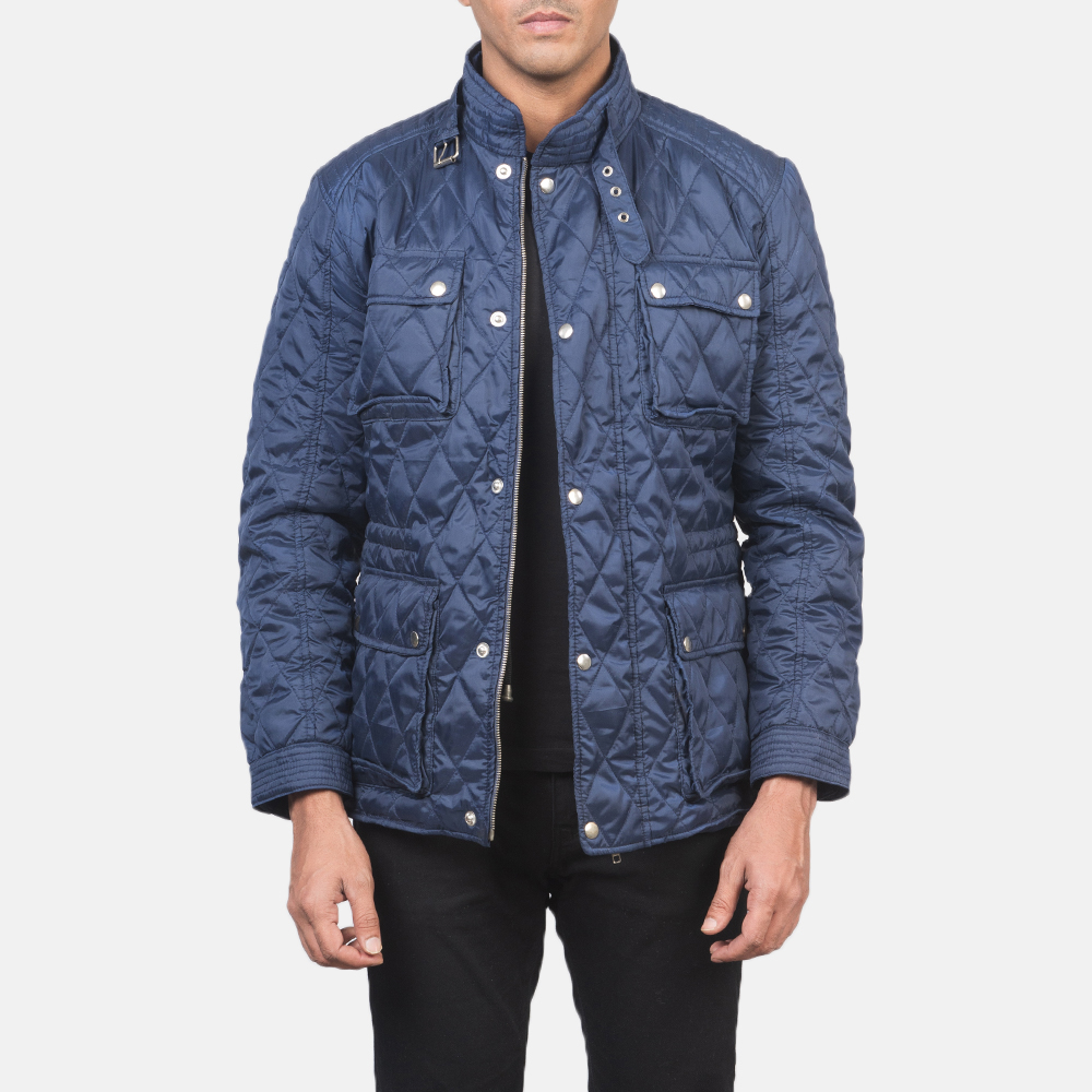 Men's Nelson Quilted Blue Windbreaker Jacket 3