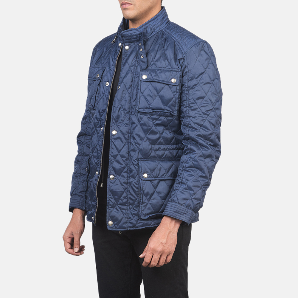 Men's Nelson Quilted Blue Windbreaker Jacket 2