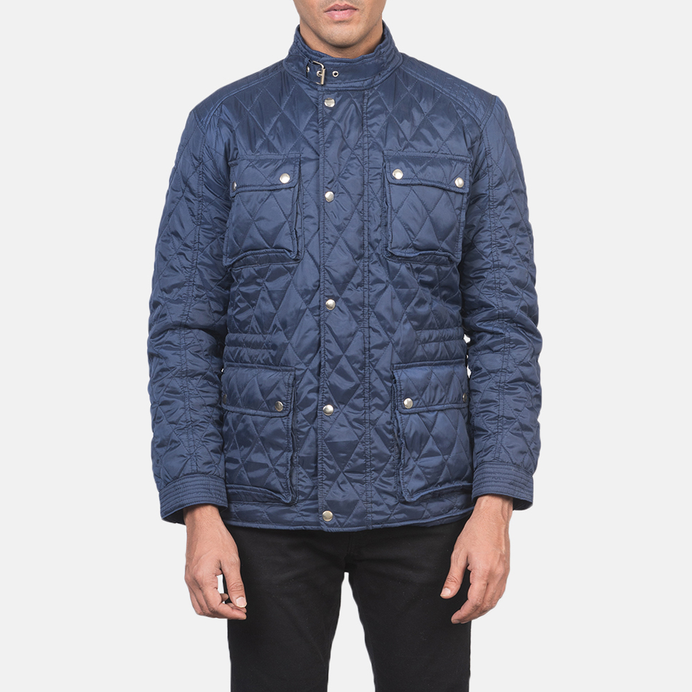 Men's Nelson Quilted Blue Windbreaker Jacket 4