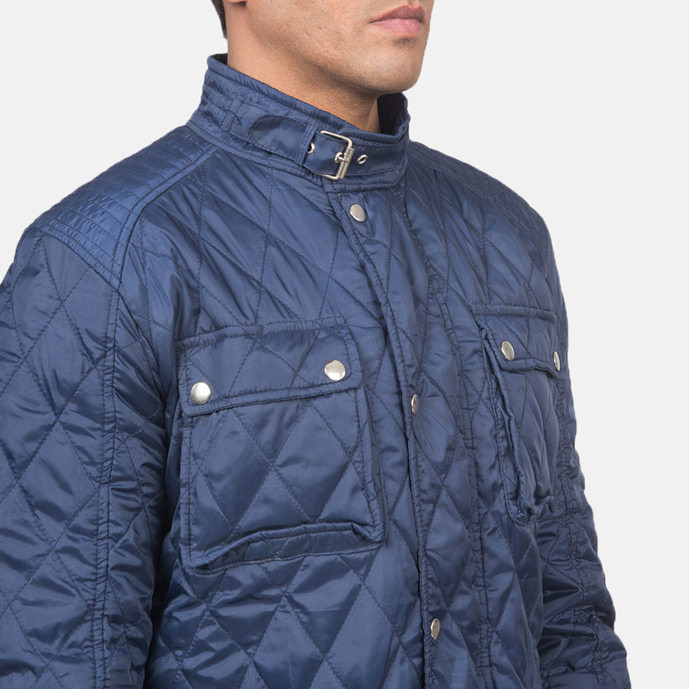 Men's Nelson Quilted Blue Windbreaker Jacket 6