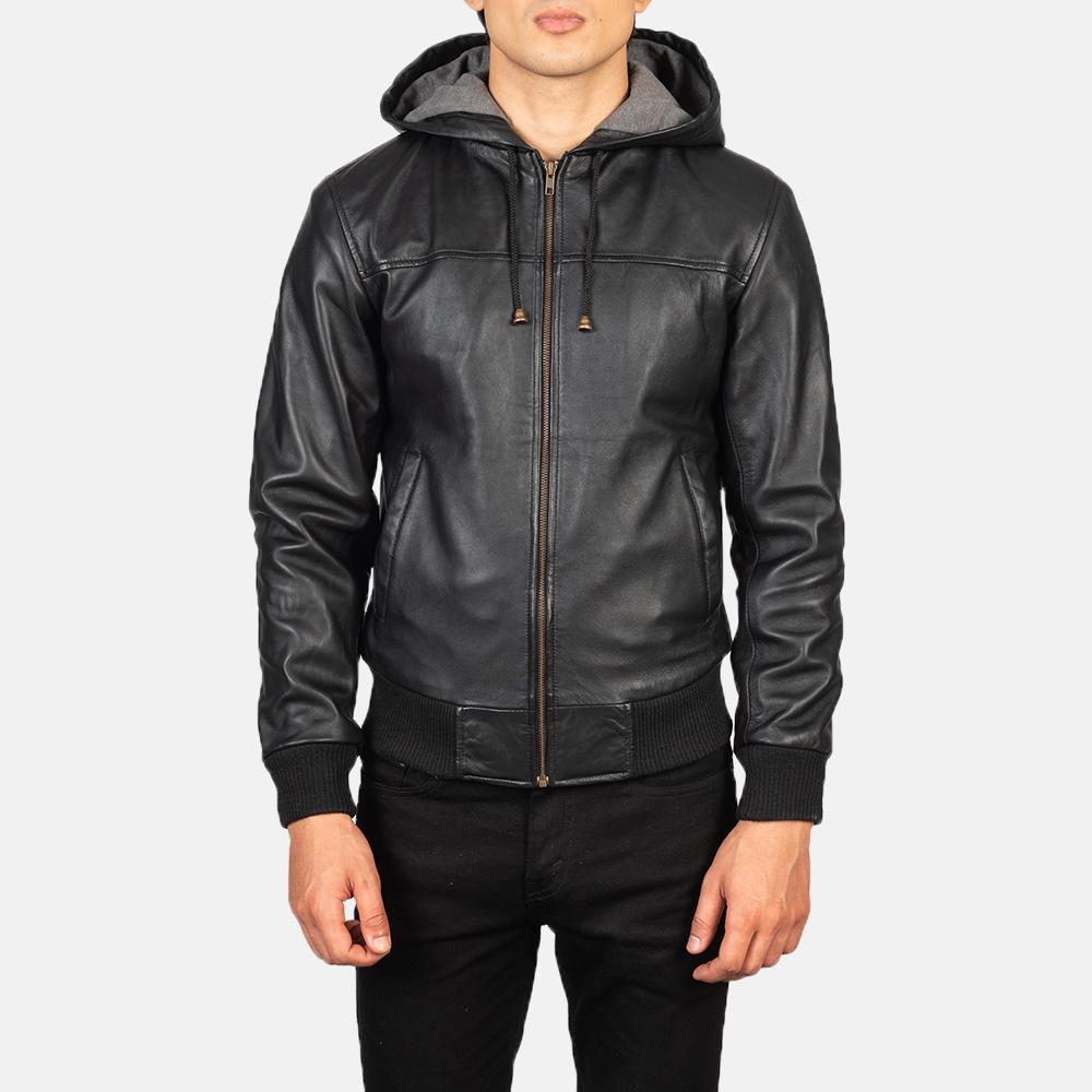 Men's Nintenzo Black Hooded Leather Jacket Close Front