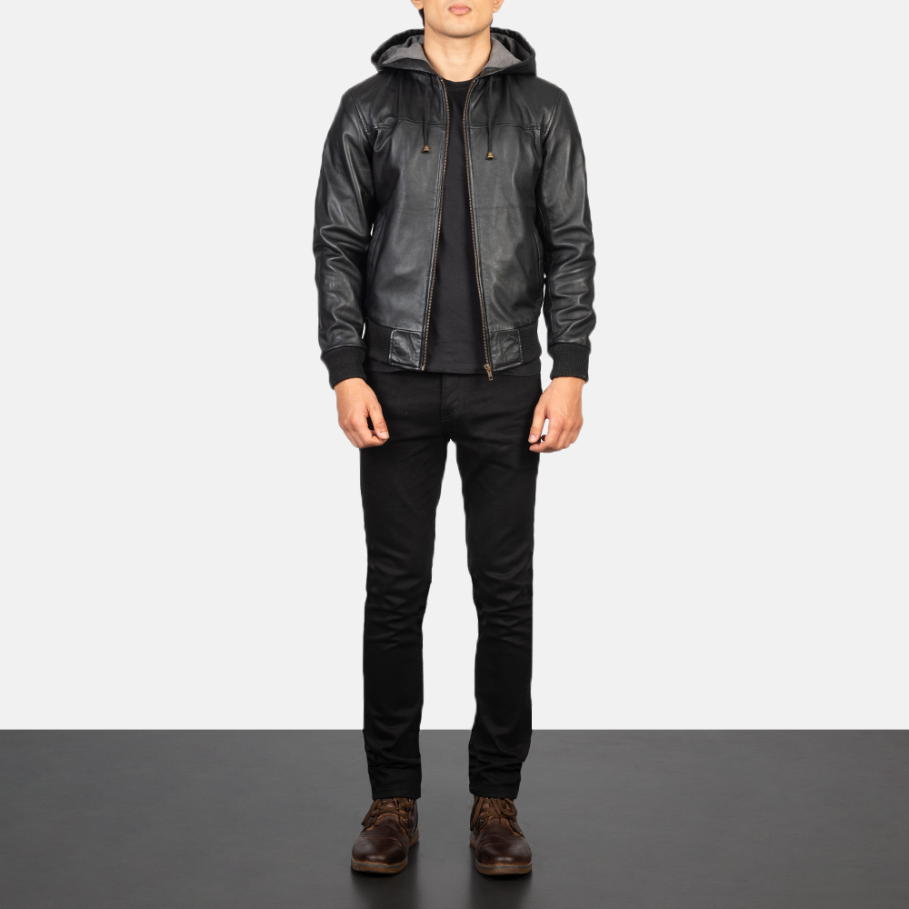 Men's Nintenzo Black Hooded Leather Jacket Full Length
