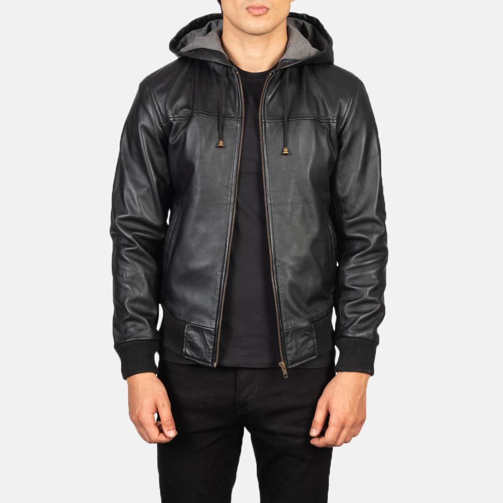 Men's Nintenzo Black Hooded Leather Jacket Open Front