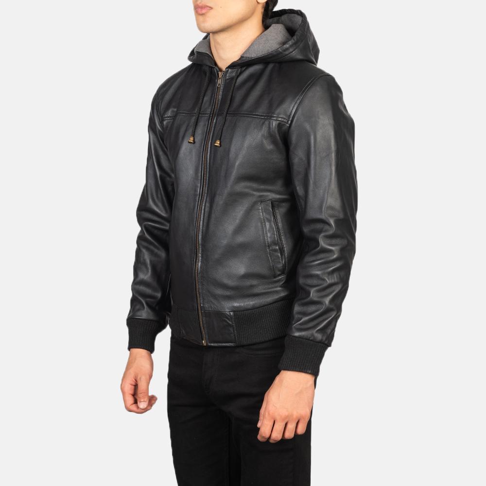 Men's Nintenzo Black Hooded Leather Jacket Side Pose