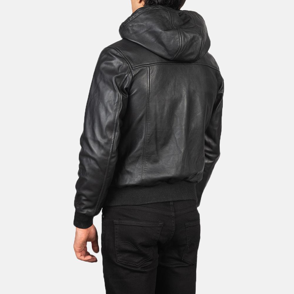 Men's Nintenzo Black Hooded Leather Jacket Tilted Back