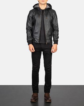 Men's Nintenzo Black Hooded Leather Jacket Video Thumbnail