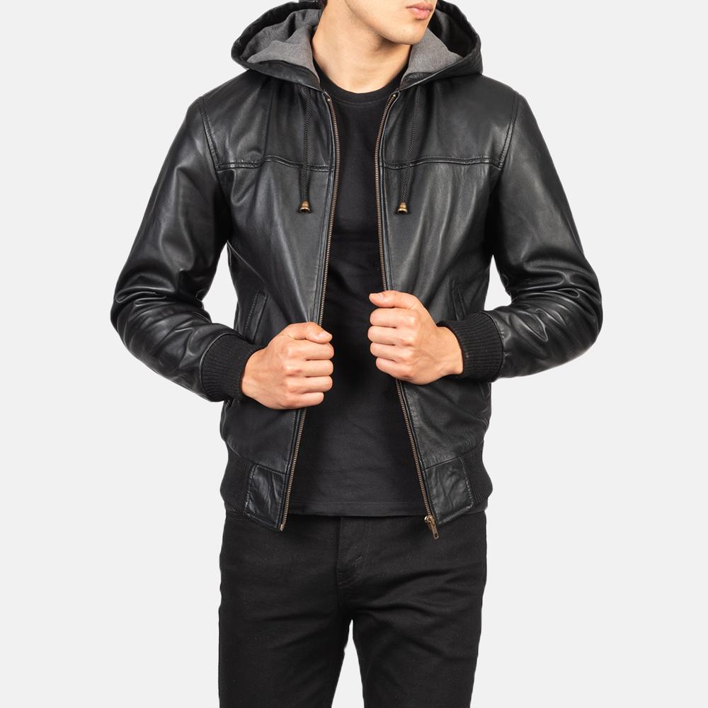 Men's Nintenzo Black Hooded Leather Jacket Close-Up