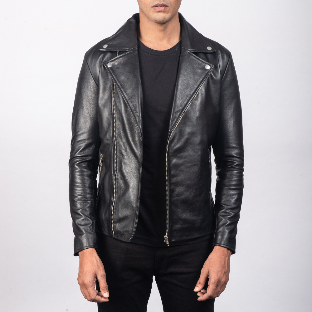 Men's Noah Black Leather Biker Jacket