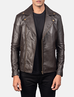 Noah Brown Leather Biker Jacket