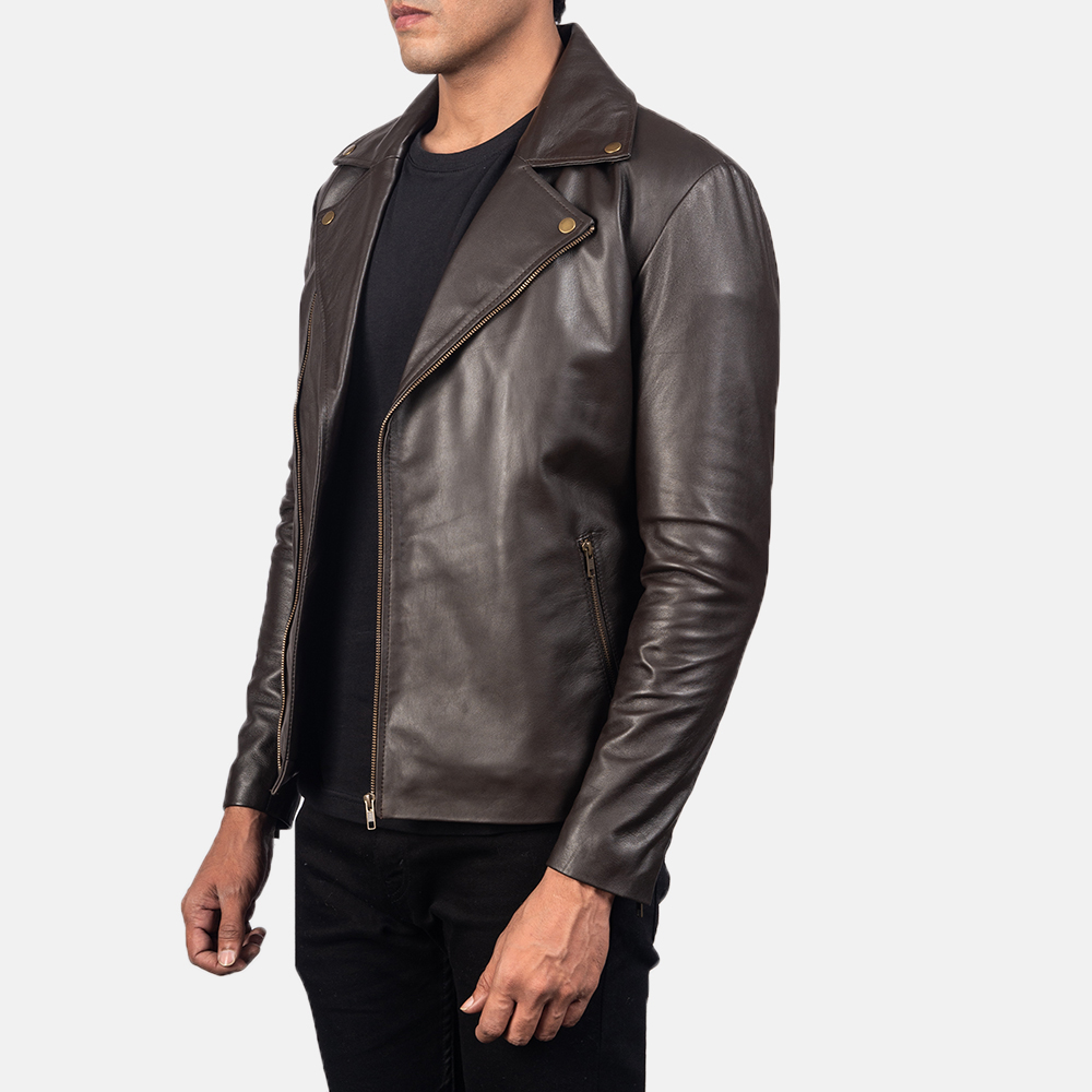 Men's Noah Brown Leather Biker Jacket