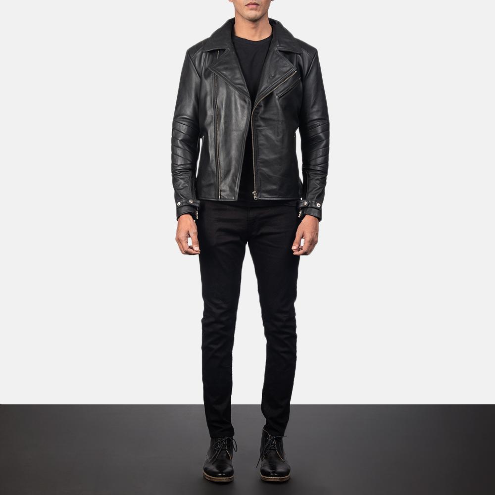 Men's Raiden Black Leather Biker Jacket