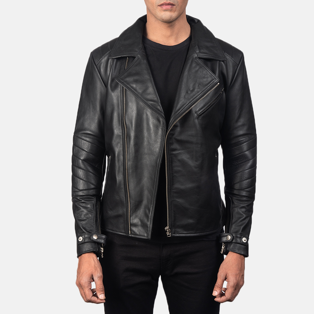 Men's Raiden Black Leather Biker Jacket