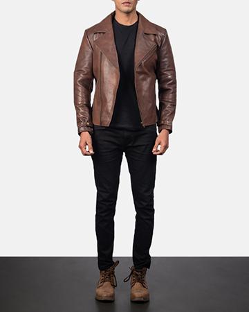Men's Raiden Brown Leather Biker Jacket 1