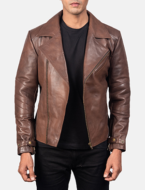 Men's Raiden Brown Leather Biker Jacket