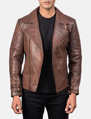 Men's Raiden Brown Leather Biker Jacket