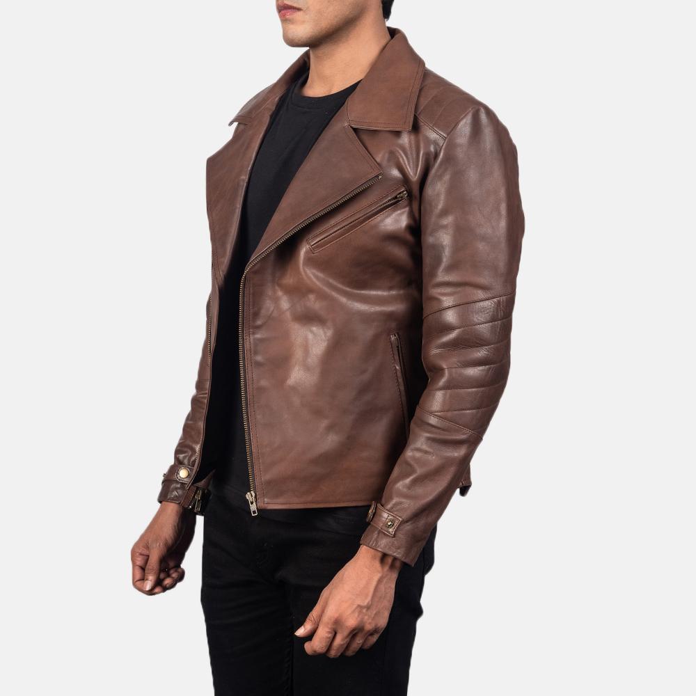 Men's Raiden Brown Leather Biker Jacket 2