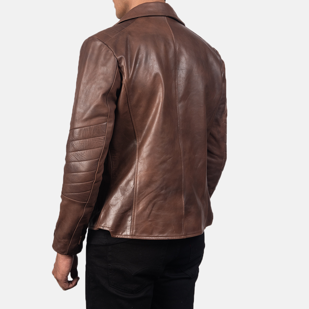 Men's Raiden Brown Leather Biker Jacket 5