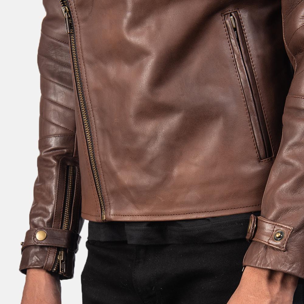 Men's Raiden Brown Leather Biker Jacket 6