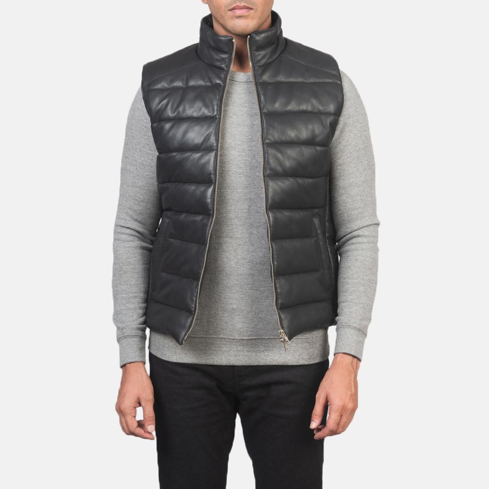 Men's Reeves Black Leather Puffer Vest 3