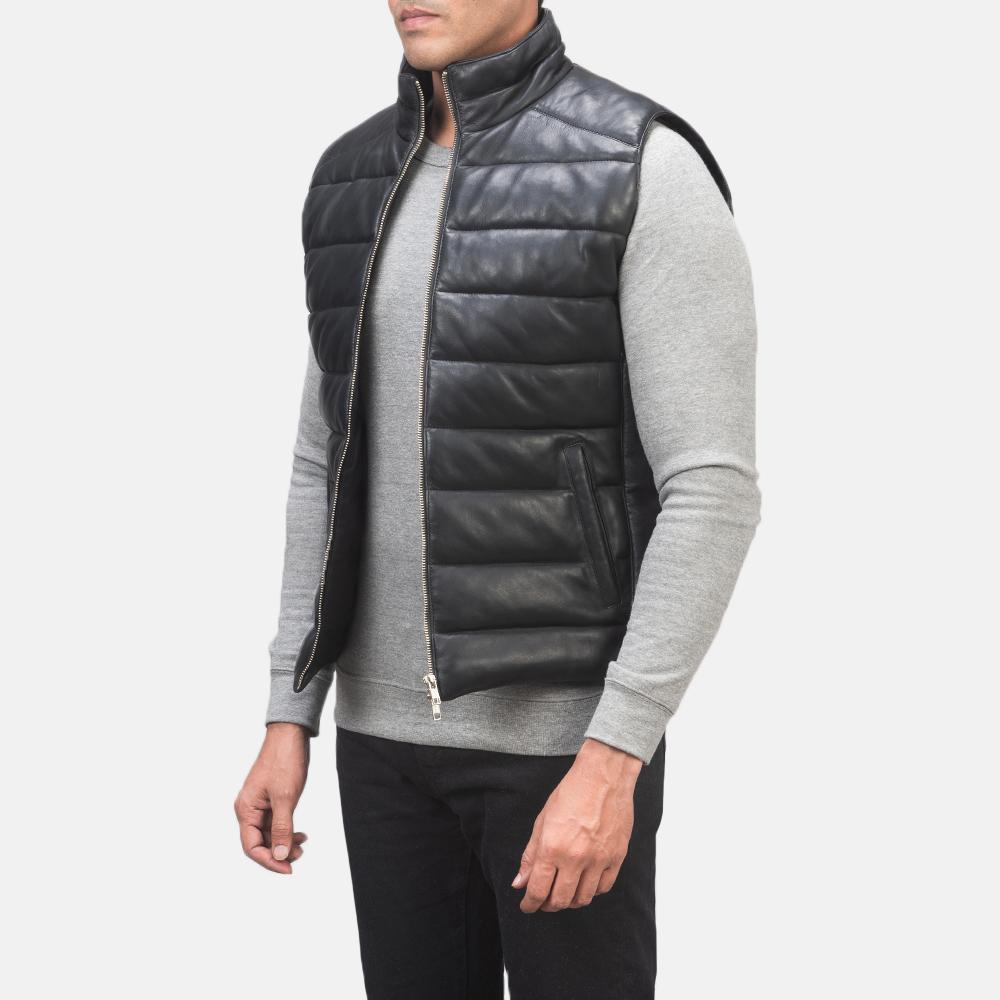 Men's Reeves Black Leather Puffer Vest 2