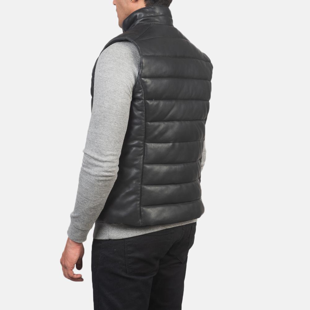 Men's Reeves Black Leather Puffer Vest 5