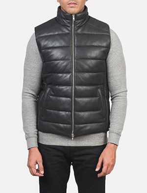 Men's Reeves Black Leather Puffer Vest